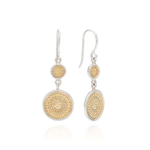 Beaded Double Drop Earrings - Gold