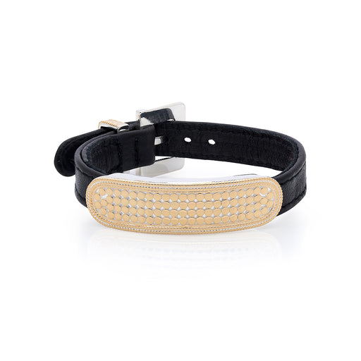 Bar Leather Bracelet - Gold