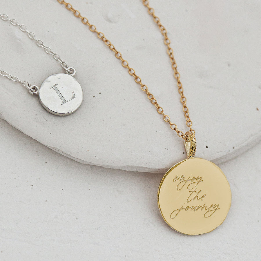 Engravable Hammered and Dotted Disc Necklace