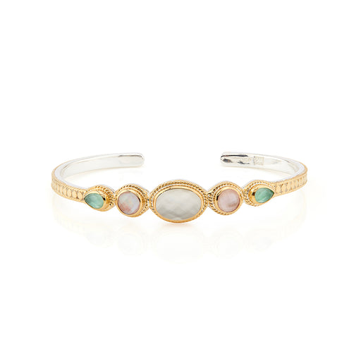 Guava and Green Amethyst Multi-Stone Cuff - Gold