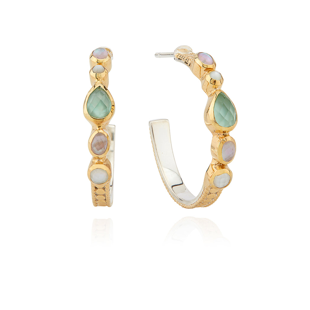 Guava and Green Amethyst Hoop Earrings - Gold