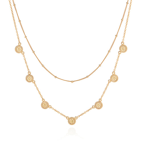 Double Chain Disc Necklace - Gold