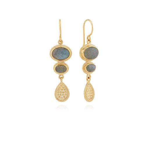 Labradorite Multi-Stone Drop Earrings - Gold