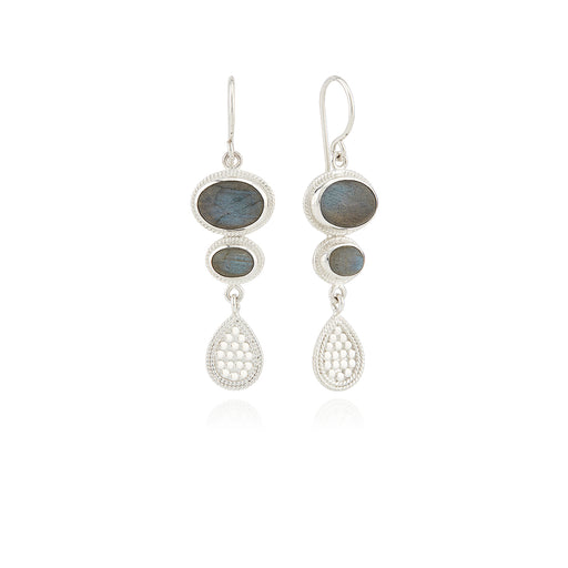 Labradorite Multi-Stone Drop Earrings - Silver