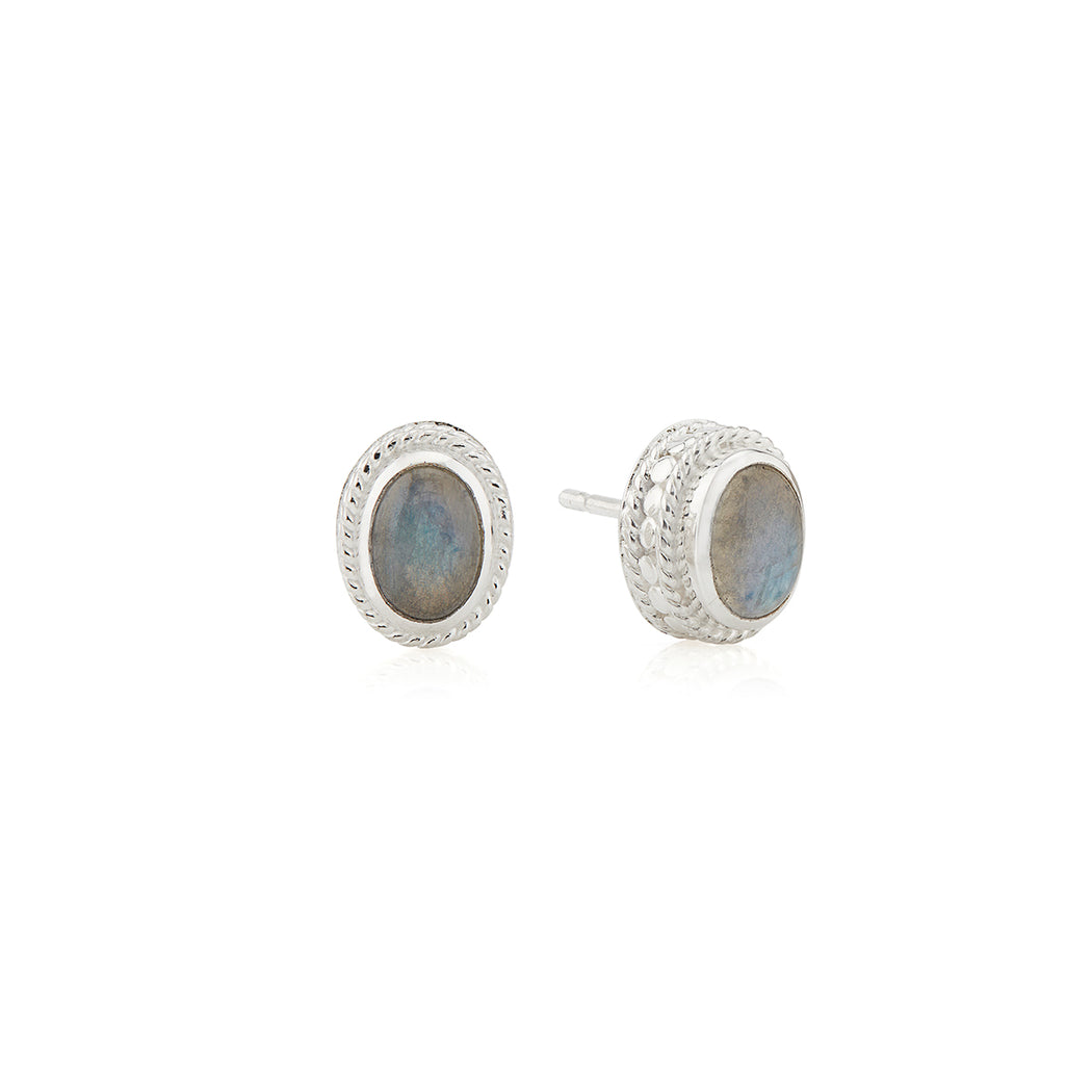 Labradorite Stud Earrings - Silver