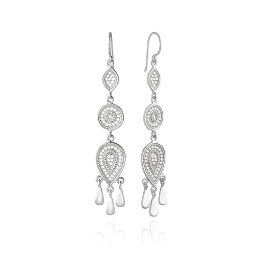 Signature Beaded Triple Drop Fringe Earrings - Silver