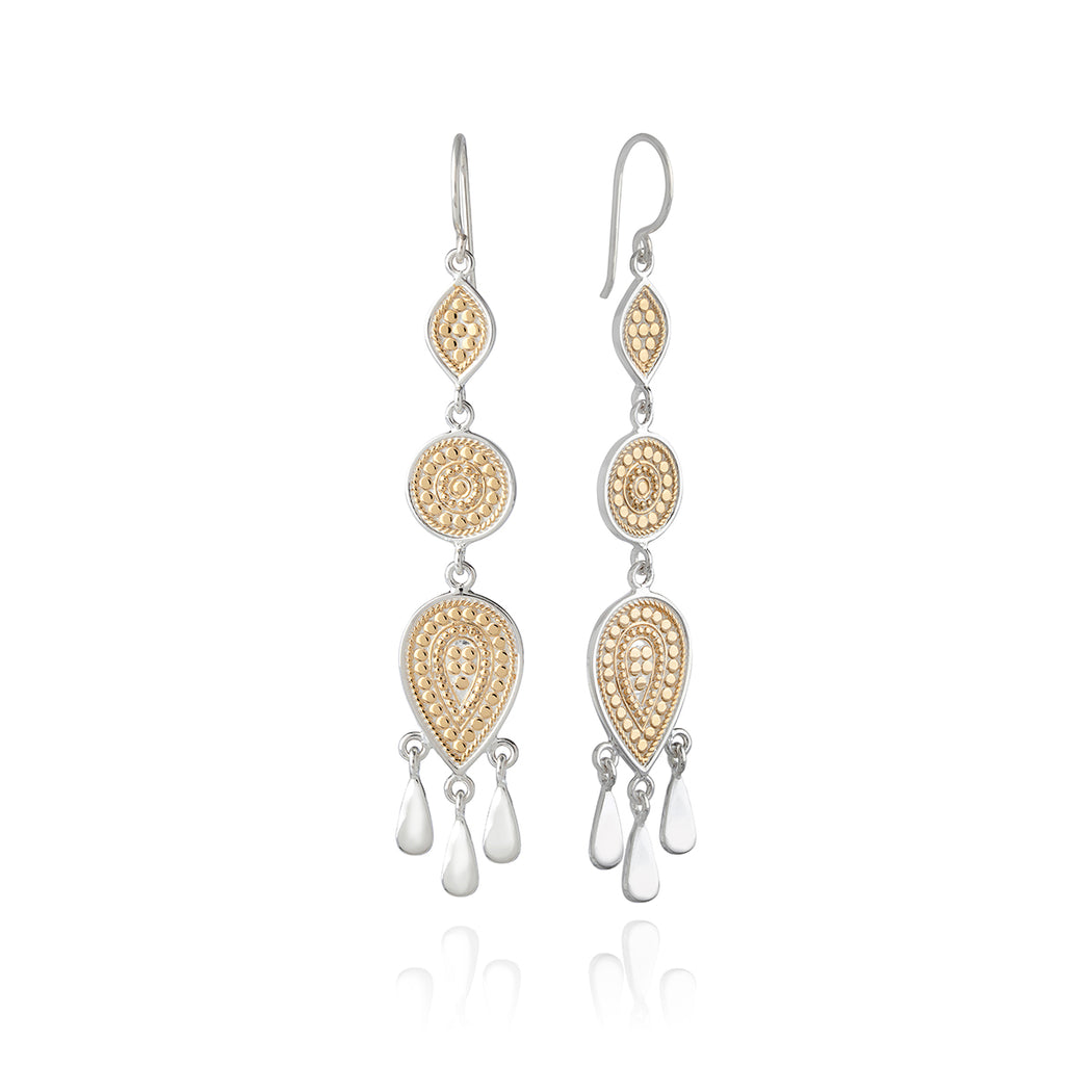 Signature Beaded Triple Drop Fringe Earrings - Gold