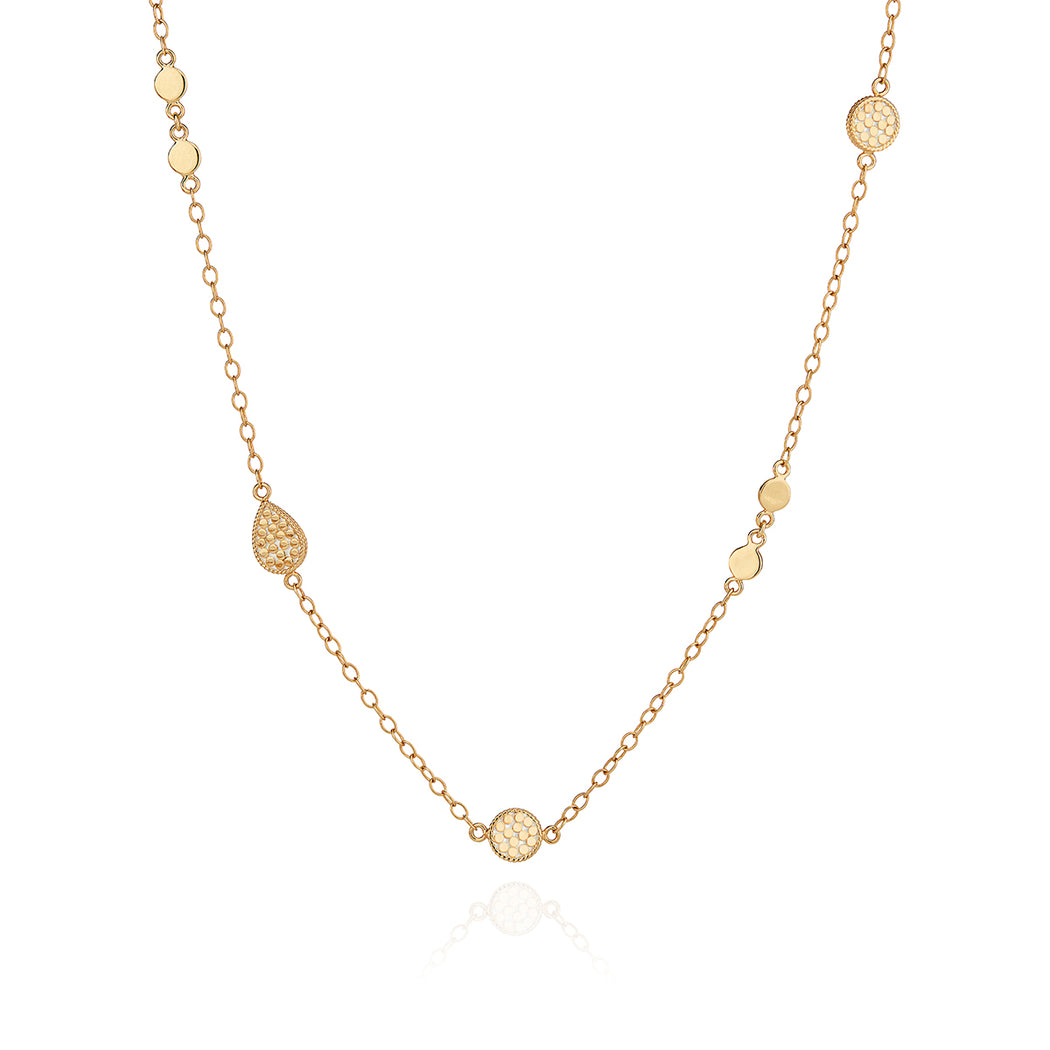 Drop and Disc Station Necklace - Gold