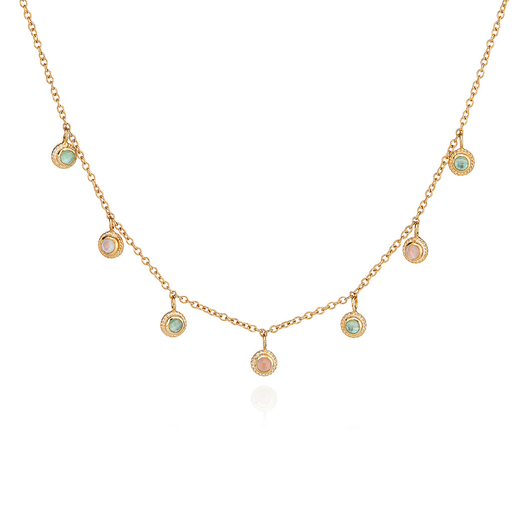 Guava and Green Amethyst Collar Necklace - Gold