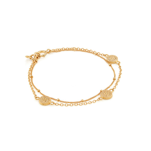 Double Chain Disc Bracelet - Gold