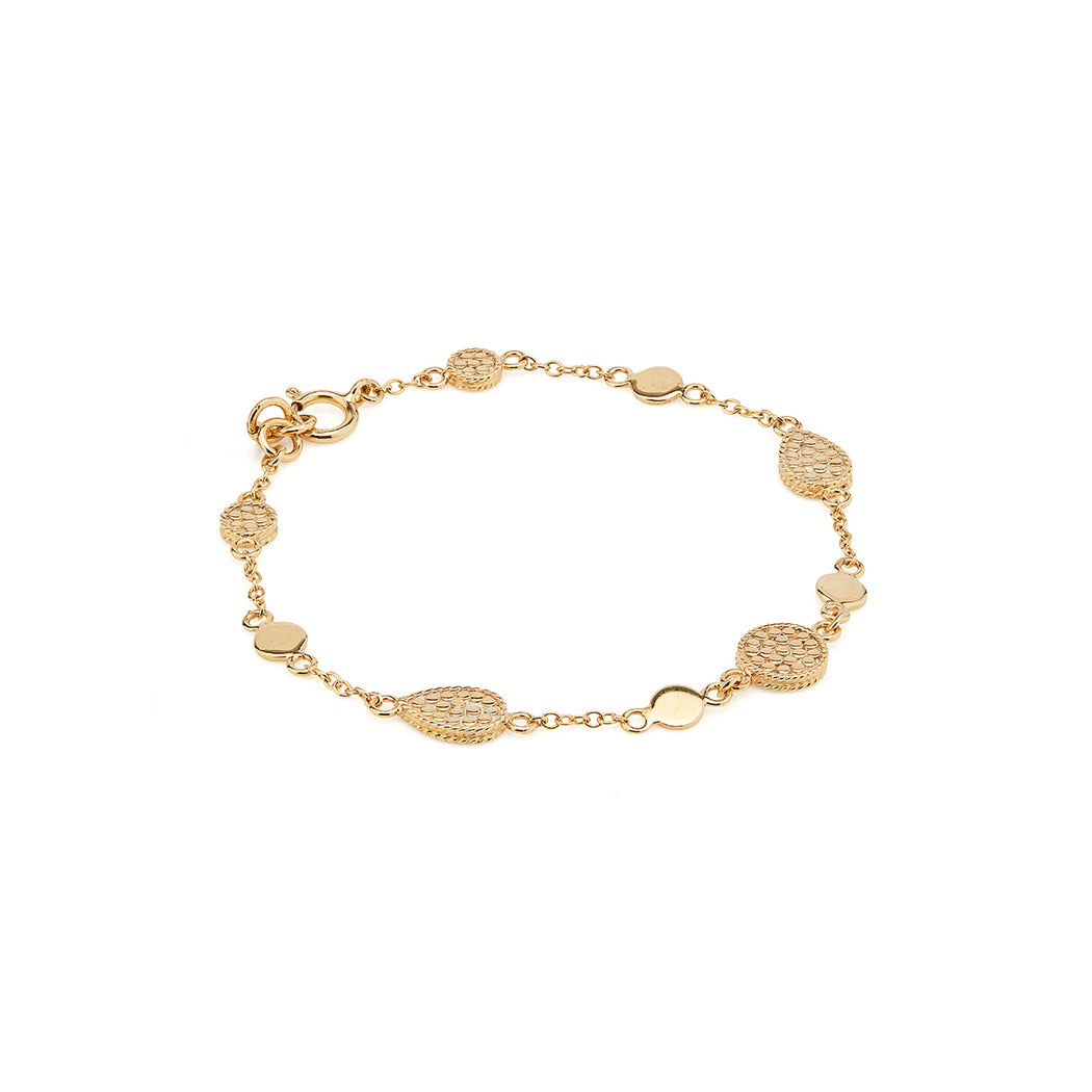 Drop and Disc Bracelet - Gold
