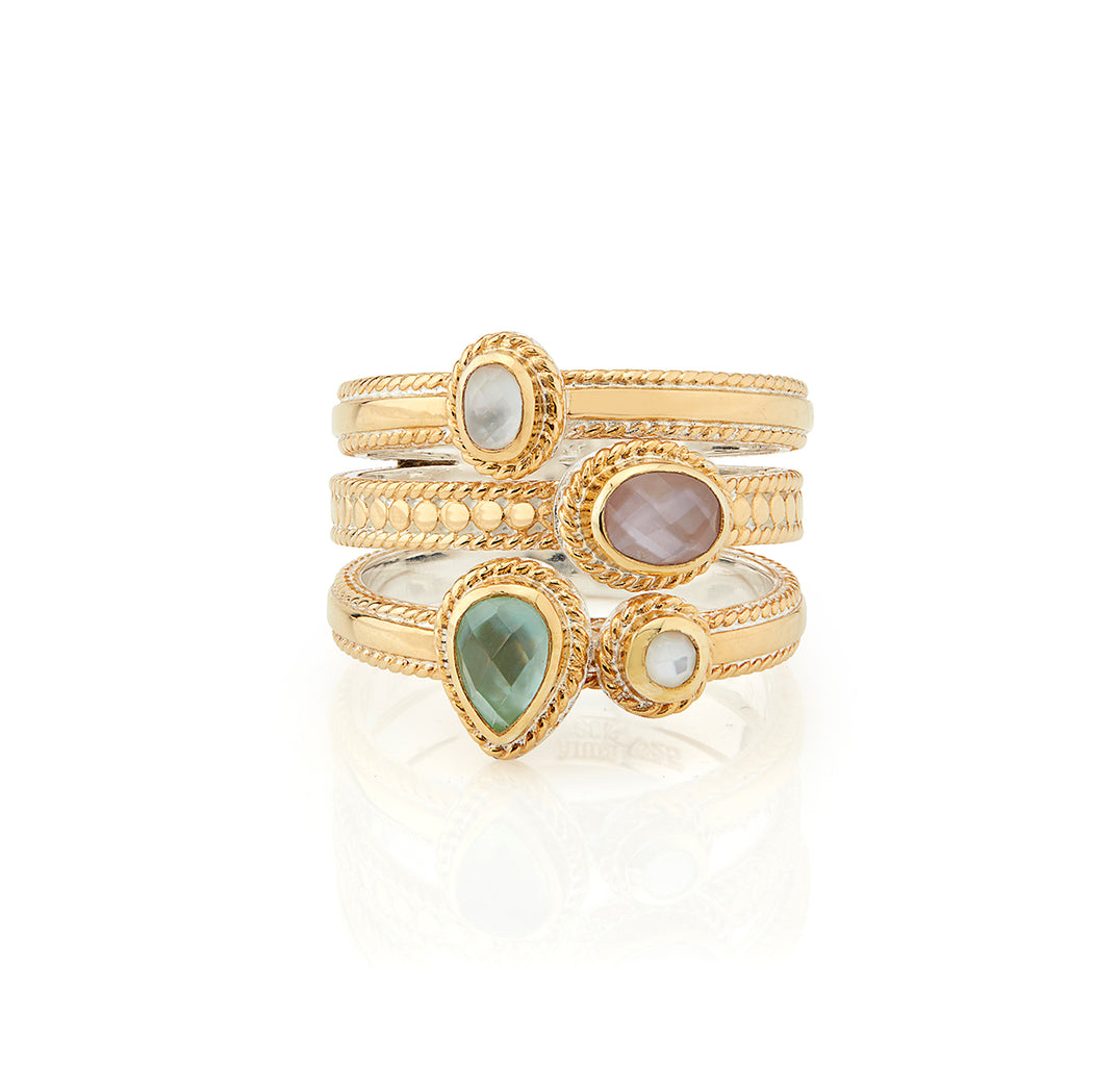 Green Amethyst and Guava Faux Stacking Ring - Gold