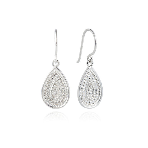 Dotted Teardrop Earrings - Silver