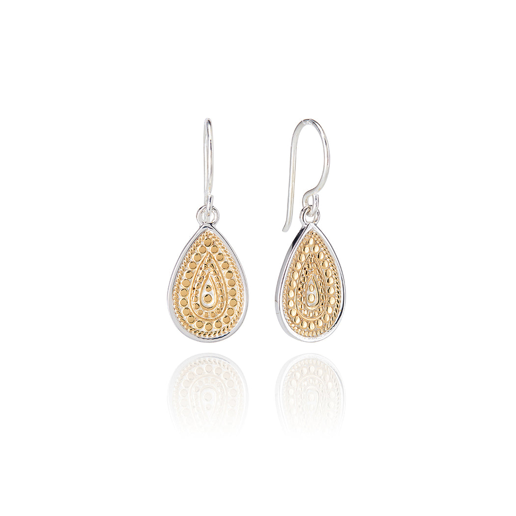 Signature Medium Beaded Teardrop Earrings - Gold