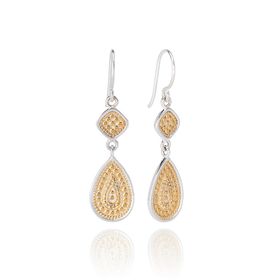 Signature Beaded Double Drop Earrings - Gold