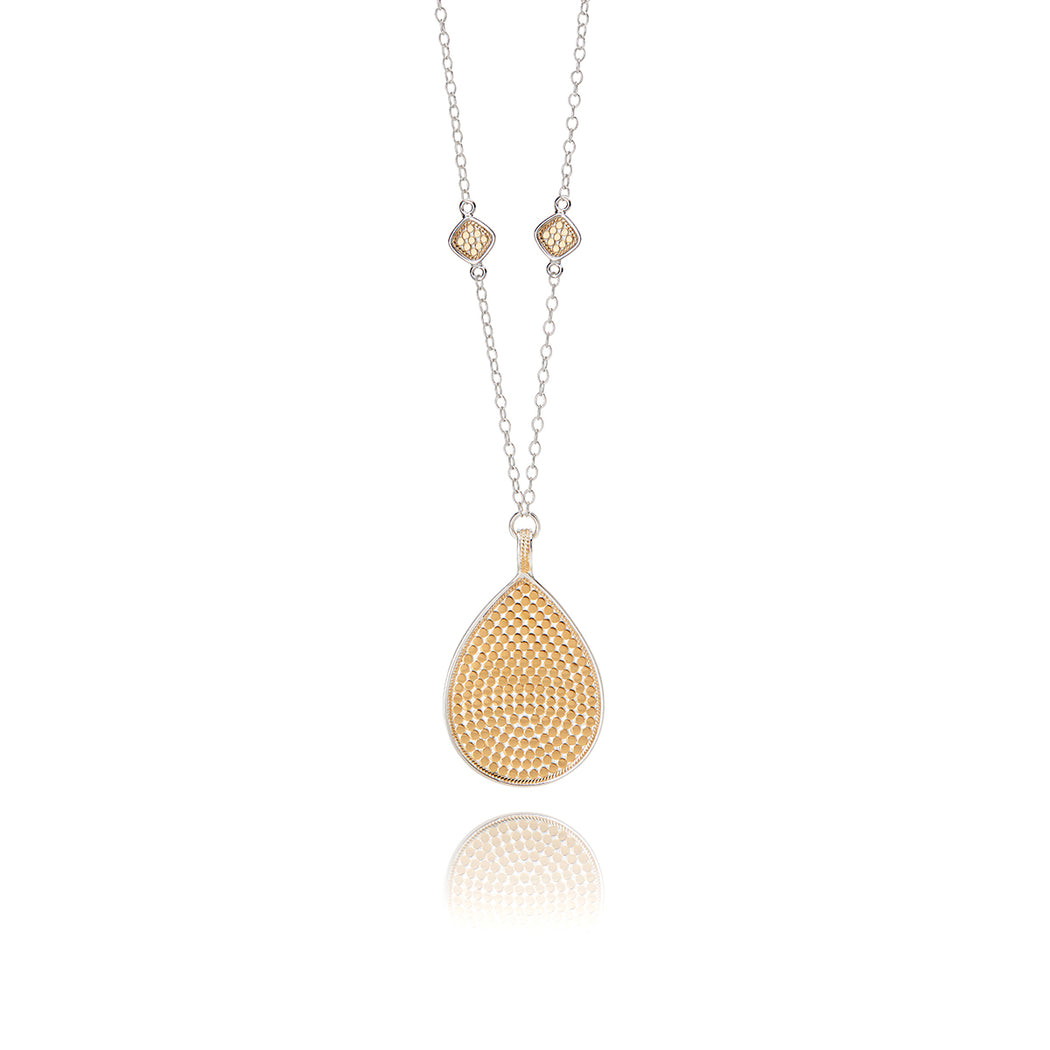 Signature Beaded Cushion and Large Teardrop Necklace