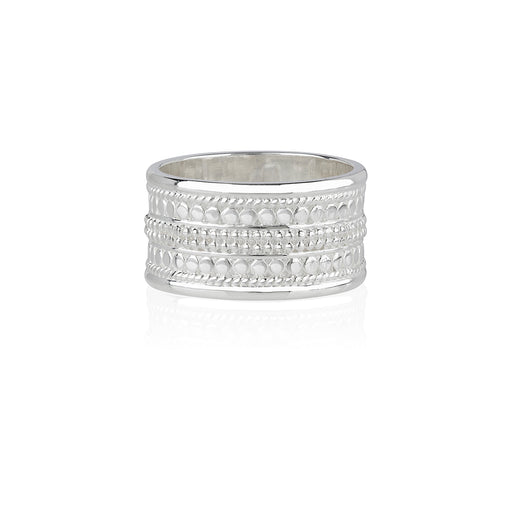 Signature Beaded Cigar Ring - Silver