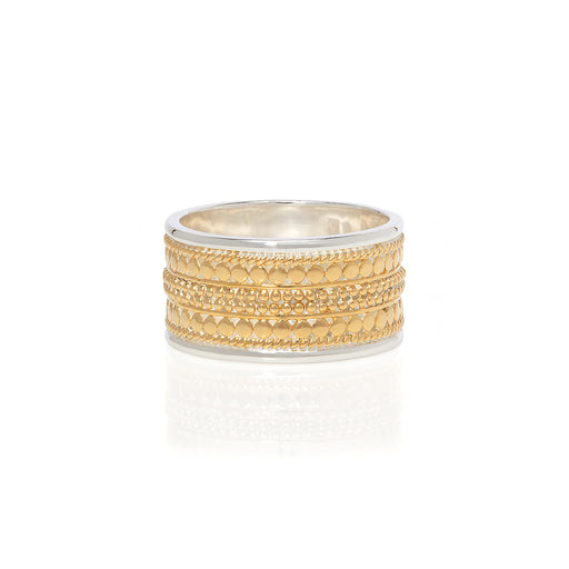 Signature Beaded Cigar Ring - Gold