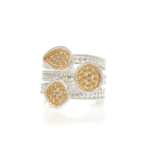 Signature Beaded Triple Ring - Gold