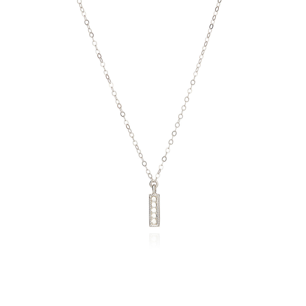 Mini Vertical Bar Necklace - Silver