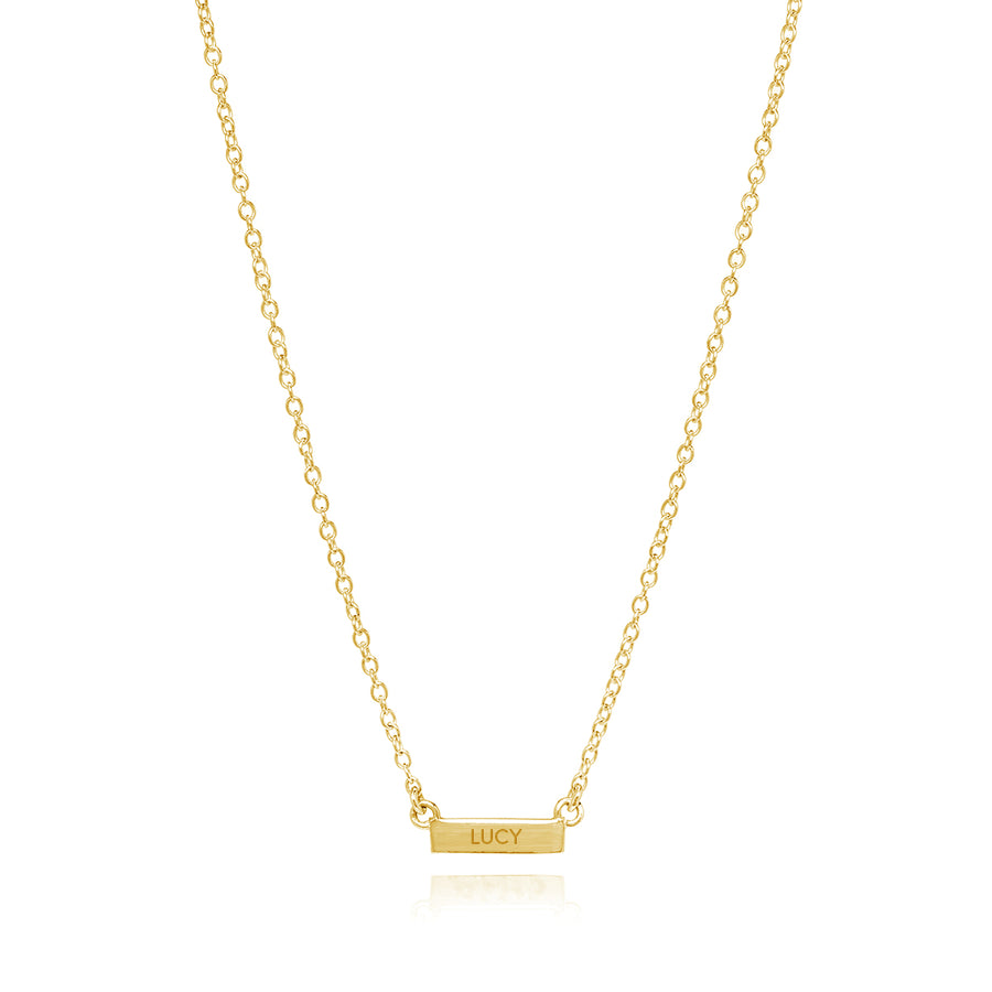Engravable Mini Bar Necklace - Gold