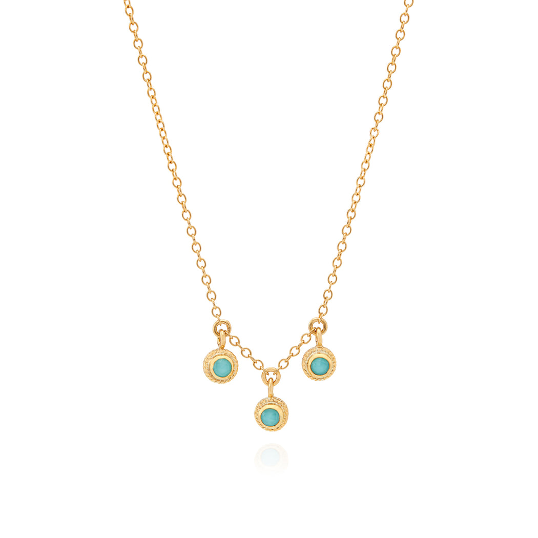 Limited Edition Turquoise Triple Stone Stacking Necklace - Gold
