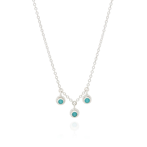 Limited Edition Turquoise Triple Stone Stacking Necklace - Silver