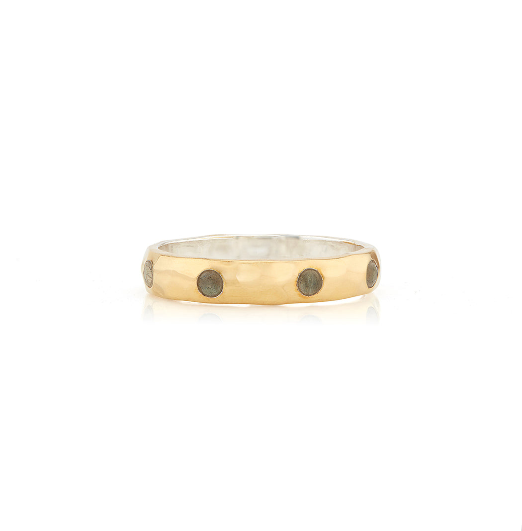 Labradorite Hammered Pavé Stacking Band - Gold