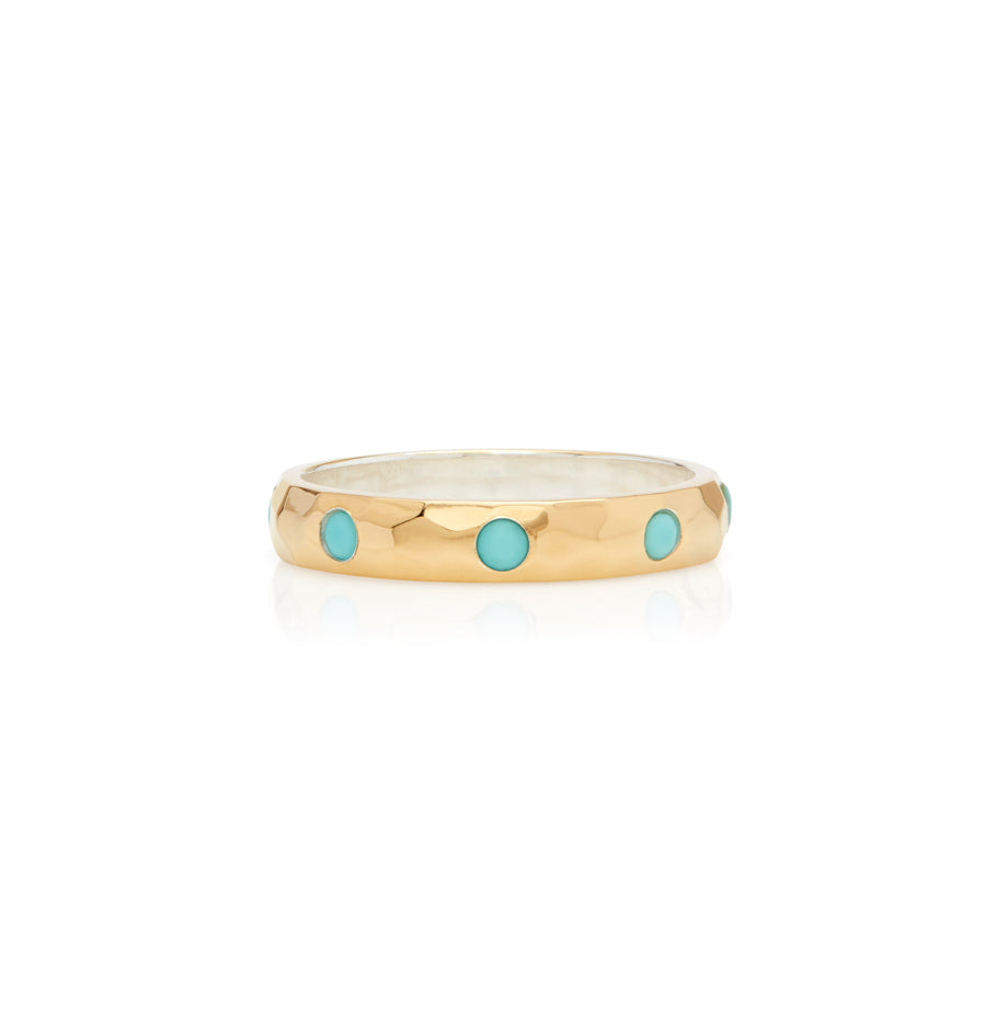 Limited Edition Turquoise Hammered Pavé Stacking Band - Gold