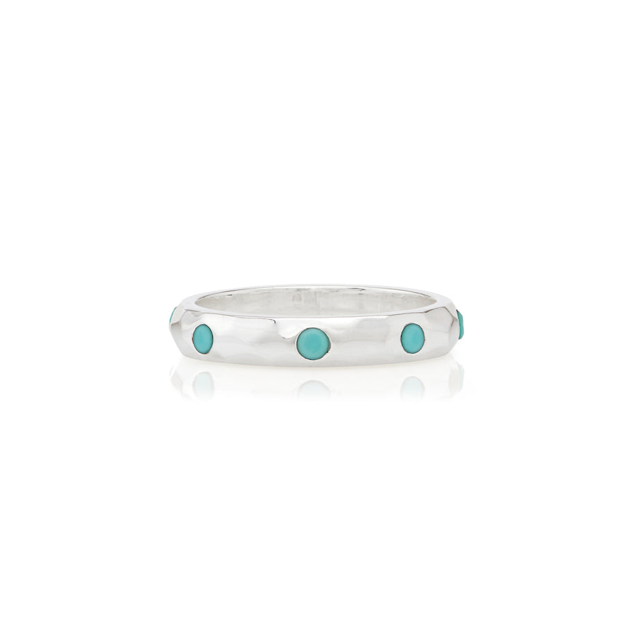 Limited Edition Turquoise Hammered Pavé Stacking Band - Silver