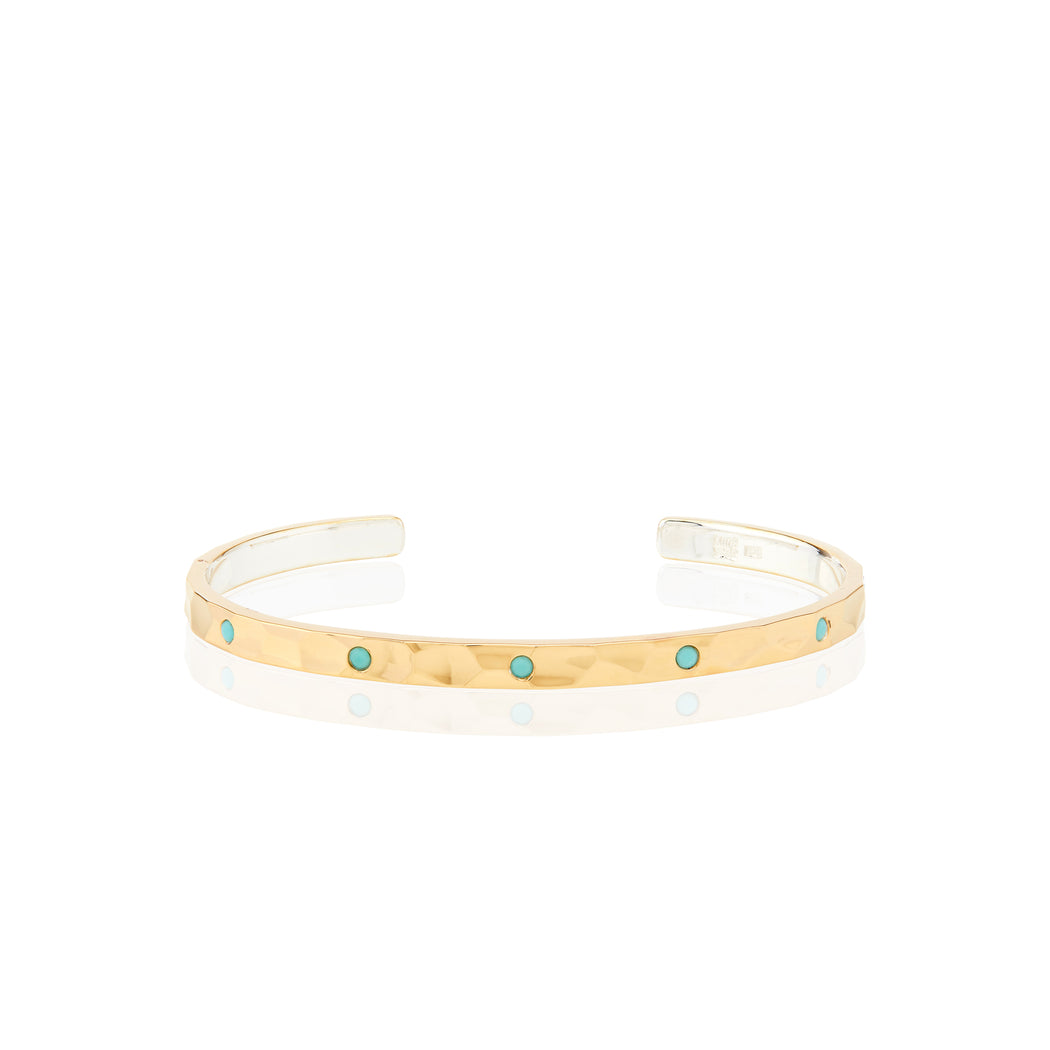 Limited Edition Turquoise Hammered Pavé Stacking Cuff - Gold