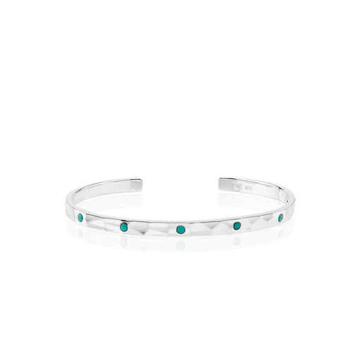 Limited Edition Turquoise Hammered Pavé Stacking Cuff - Silver