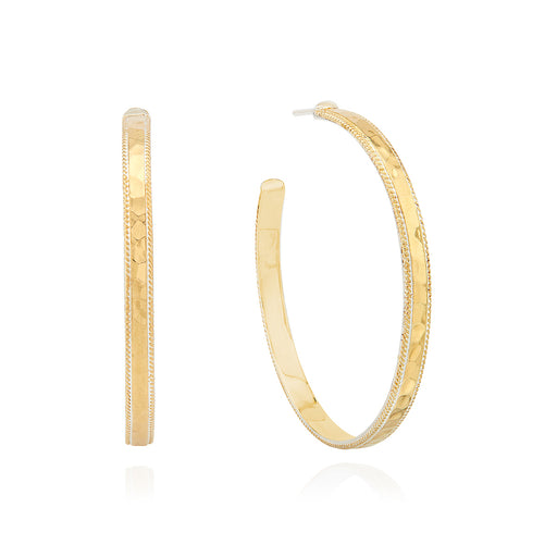 Large Hammered Hoop Earrings - Gold