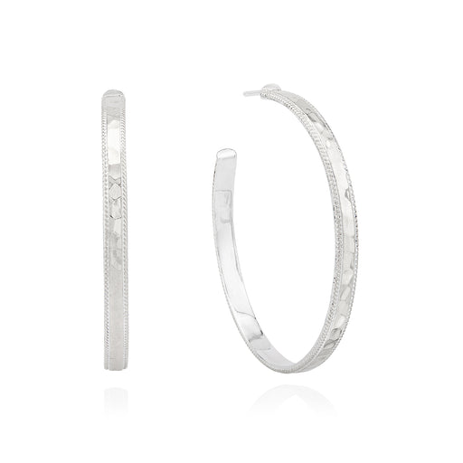 Large Hammered Hoop Earrings - Silver