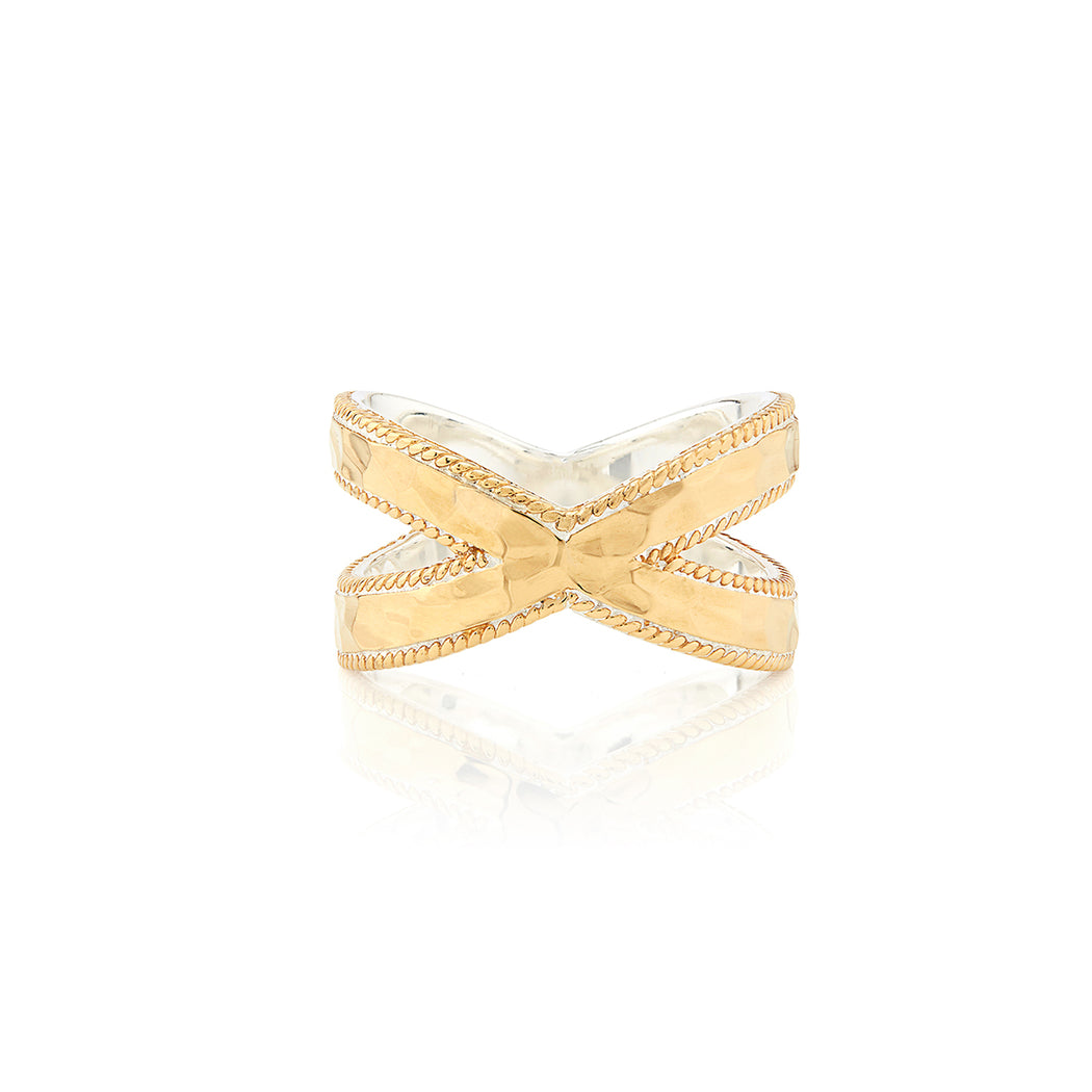 Hammered Cross Ring - Gold