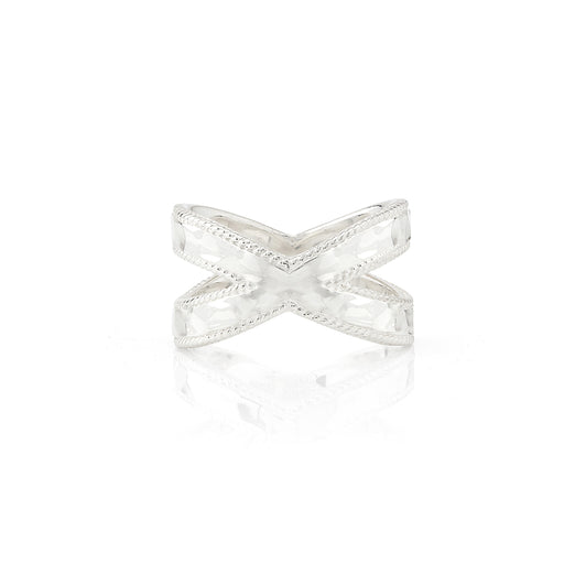 Hammered Cross Ring - Silver