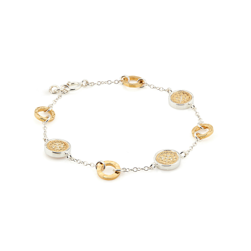 Hammered Station Bracelet - Gold