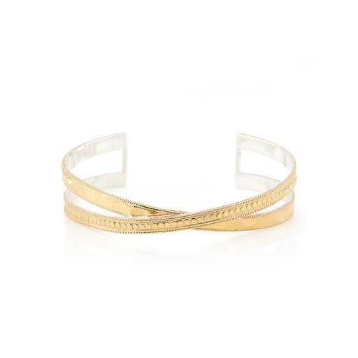 Hammered Cross Cuff - Gold