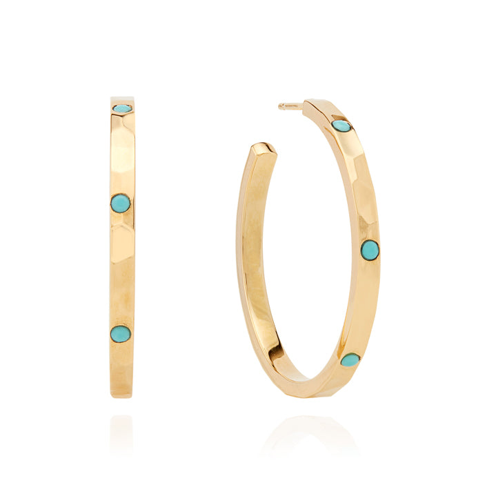 Limited Edition Medium Turquoise Hammered Pavé Hoop Earrings - Gold