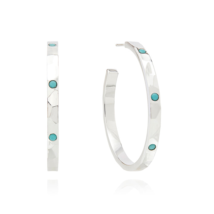Limited Edition Medium Turquoise Hammered Pavé Hoop Earrings - Silver