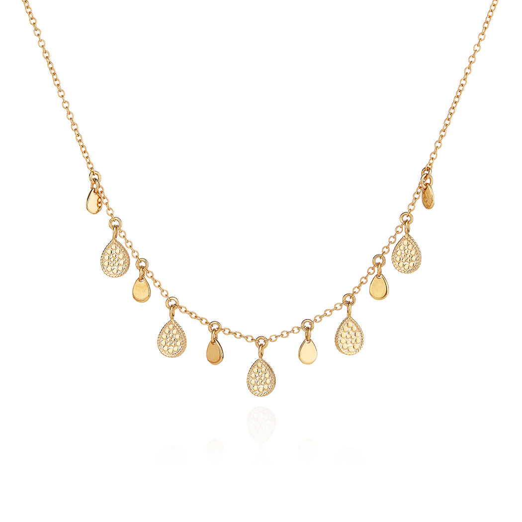Teardrop Charm Collar Necklace - Gold