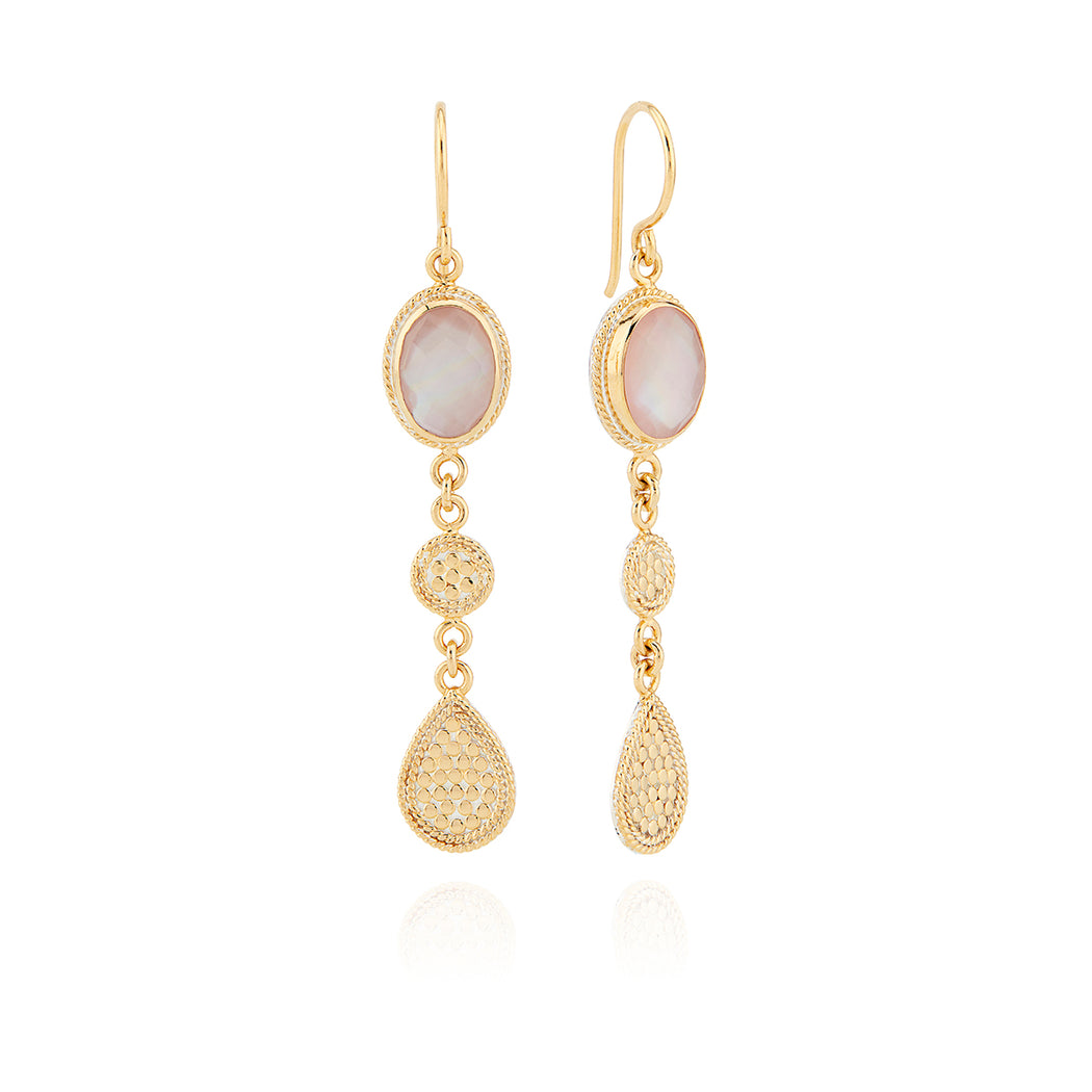 Guava Triple Drop Earrings - Gold