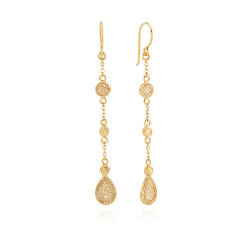 Beaded Triple Drop Earrings - Gold