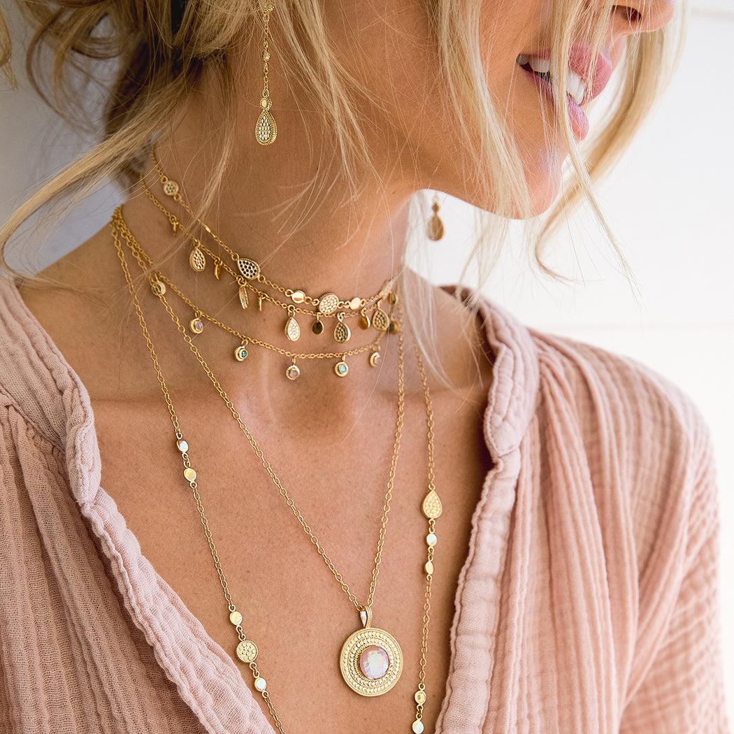 Drop and Disc Collar Necklace - Gold