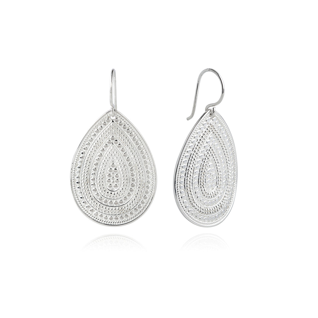 Signature Large Beaded Teardrop Earrings - Silver