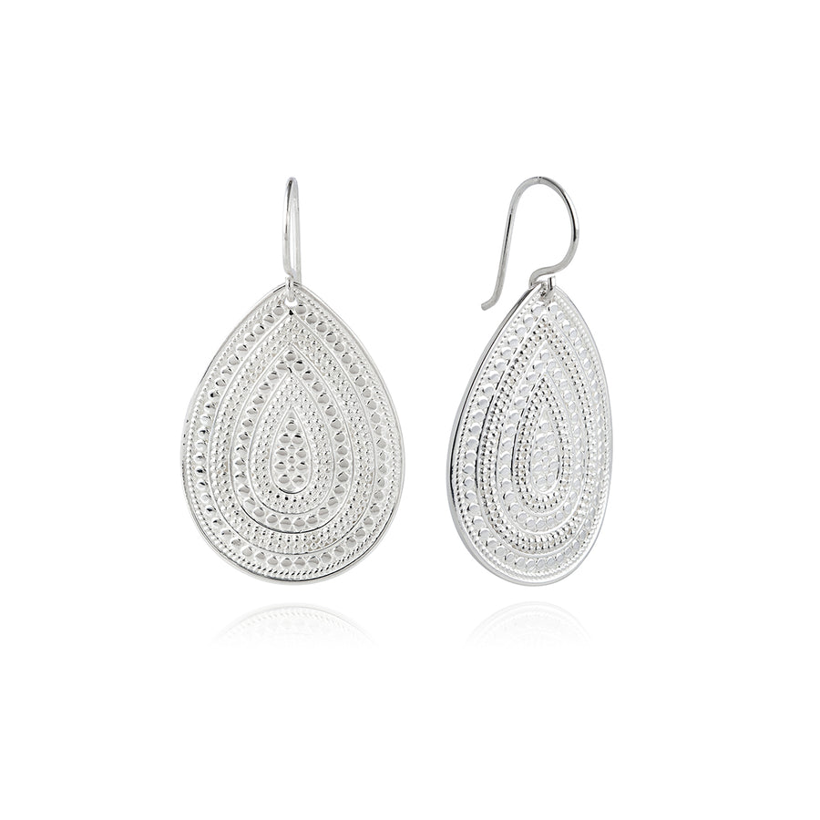 Classic Large Teardrop Earrings - Silver