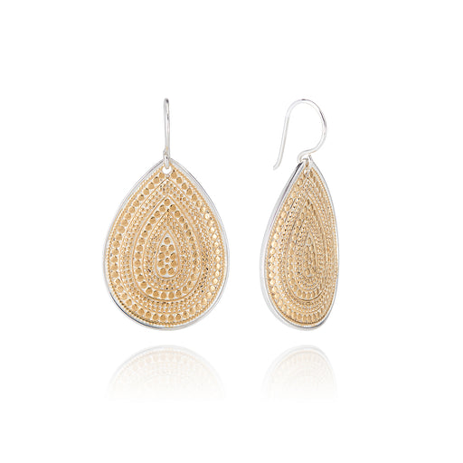 Signature Large Beaded Teardrop Earrings - Gold