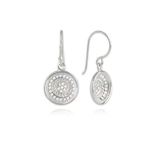 Dotted Dish Drop Earrings - Silver