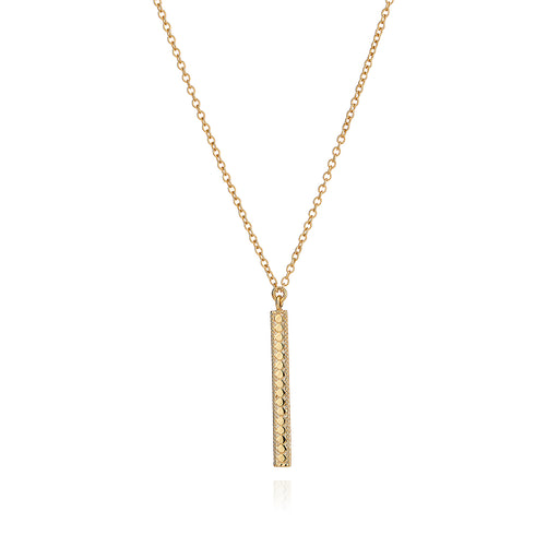 Long Vertical Bar Necklace - Gold