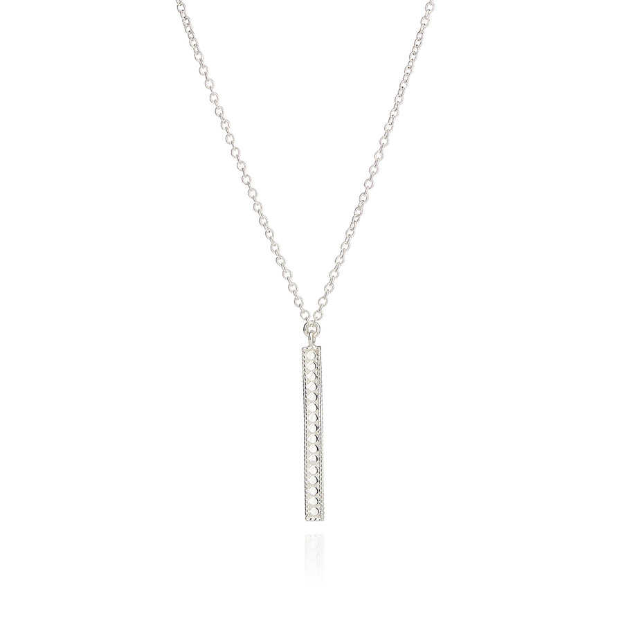 Long Vertical Bar Necklace - Silver